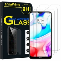 "Xiaomi Redmi 8 6.22"" M1908C3IC MZB8255IN [Les Dimensions EXACTES du telephone: 156.5 x 75.4 x 9.4 mm]: Lot / Pack de 3 Films de protection d'écran Verre Trempé"