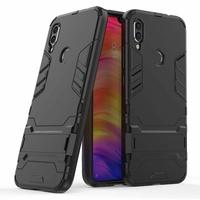 """Xiaomi Redmi Note 7S 6.3"""" M1901F71 [Les Dimensions EXACTES du telephone: 159.2 x 75.2 x 8.1 mm]: Iron Man Coque Armor Rigide Hybride Antichoc Couverture à double couche avec béquille - NOIR"""