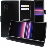 """Sony Xperia 5 6.1"""" J8210 J8270 J9210 [Les Dimensions EXACTES du telephone: 158 x 68 x 8.2 mm]: Accessoire Etui portefeuille Livre Housse Coque Pochette support vidéo cuir PU - NOIR"""