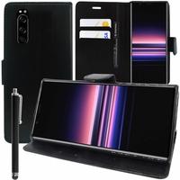 """Sony Xperia 5 6.1"""" J8210 J8270 J9210 [Les Dimensions EXACTES du telephone: 158 x 68 x 8.2 mm]: Accessoire Etui portefeuille Livre Housse Coque Pochette support vidéo cuir PU + Stylet - NOIR"""
