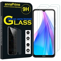 "Xiaomi Redmi Note 8T 6.3"" (non compatible Xiaomi Redmi Note 8 Pro 6.53""): Lot / Pack de 2 Films de protection d'écran Verre Trempé"