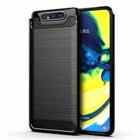 """Samsung Galaxy A80/ A90 6.7"""" SM-A805F/ A805X/ A805XC/ A805N/ A805F/DS/ A805F/DSM: Coque Housse Silicone Souple en Fibre de Carbone Brossé motif TPU Case - NOIR"""