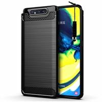 """Samsung Galaxy A80/ A90 6.7"""" SM-A805F/ A805X/ A805XC/ A805N/ A805F/DS/ A805F/DSM: Coque Housse Silicone Souple en Fibre de Carbone Brossé motif TPU Case + mini Stylet - NOIR"""