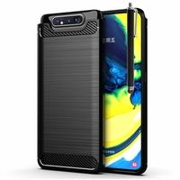 """Samsung Galaxy A80/ A90 6.7"""" SM-A805F/ A805X/ A805XC/ A805N/ A805F/DS/ A805F/DSM: Coque Housse Silicone Souple en Fibre de Carbone Brossé motif TPU Case + Stylet - NOIR"""