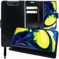 """Samsung Galaxy A80/ A90 6.7"""" SM-A805F/ A805X/ A805XC/ A805N/ A805F/DS/ A805F/DSM: Accessoire Etui portefeuille Livre Housse Coque Pochette support vidéo cuir PU + mini Stylet - NOIR"""