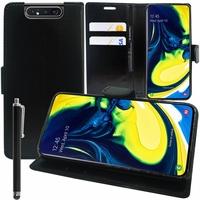 """Samsung Galaxy A80/ A90 6.7"""" SM-A805F/ A805X/ A805XC/ A805N/ A805F/DS/ A805F/DSM: Accessoire Etui portefeuille Livre Housse Coque Pochette support vidéo cuir PU + Stylet - NOIR"""