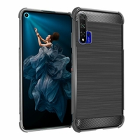 "Huawei Honor 20/ Huawei nova 5T 6.26"" YAL-L21 YAL-AL00 YAL-TL00 (non compatible Huawei Honor 20 Lite 6.21""/ Honor 20i 6.21""/ Honor View 20 6.4""): Coque Housse Silicone Souple en Fibre de Carbone Brossé motif TPU Case - NOIR"