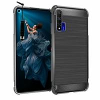 "Huawei Honor 20/ Huawei nova 5T 6.26"" YAL-L21 YAL-AL00 YAL-TL00 (non compatible Huawei Honor 20 Lite 6.21""/ Honor 20i 6.21""/ Honor View 20 6.4""): Coque Housse Silicone Souple en Fibre de Carbone Brossé motif TPU Case + mini Stylet - NOIR"