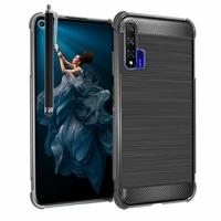 "Huawei Honor 20/ Huawei nova 5T 6.26"" YAL-L21 YAL-AL00 YAL-TL00 (non compatible Huawei Honor 20 Lite 6.21""/ Honor 20i 6.21""/ Honor View 20 6.4""): Coque Housse Silicone Souple en Fibre de Carbone Brossé motif TPU Case + Stylet - NOIR"