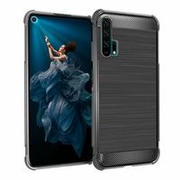 """Huawei Honor 20 Pro 6.26"""" YAL-AL10 YAL-TL10 (non compatible Huawei Honor 20 Lite 6.21""""/ Honor View 20 6.4""""): Coque Housse Silicone Souple en Fibre de Carbone Brossé motif TPU Case - NOIR"""