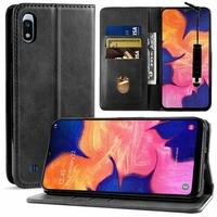 """Samsung Galaxy A10 6.2"""" SM-A105F/ A105F/DS [Les Dimensions EXACTES du telephone: 155.6 x 75.6 x 7.9 mm]: Housse Portefeuille en Cuir PU Fermeture Magnétique (sans clapet) + mini Stylet - NOIR"""
