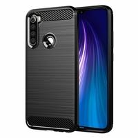 """Xiaomi Redmi Note 8 6.3"""" M1908C3JH, M1908C3JG, M1908C3JI (non compatible Xiaomi Redmi Note 8 Pro 6.53""""): Coque Housse Silicone Souple en Fibre de Carbone Brossé motif TPU Case - NOIR"""