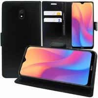 """Xiaomi Redmi 8A 6.2"""" [Les Dimensions EXACTES du telephone: 156.5 x 75.4 x 9.4 mm]: Accessoire Etui portefeuille Livre Housse Coque Pochette support vidéo cuir PU - NOIR"""