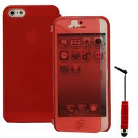 Apple iPhone 5/ 5S/ SE: Accessoire Coque Etui Housse Pochette silicone gel Portefeuille Livre rabat + mini Stylet - ROUGE