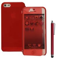 Apple iPhone 5/ 5S/ SE: Accessoire Coque Etui Housse Pochette silicone gel Portefeuille Livre rabat + Stylet - ROUGE