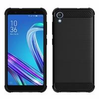 """Asus ZenFone Live (L1) ZA550KL 5.5""""/ ASUS_X00RD (non compatible Zenfone Live ZB501KL 5.0""""): Coque Silicone TPU Fibre de Carbone Brossé - NOIR"""