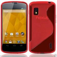 Google Nexus 4 E960/ Mako: Coque silicone Gel motif S au dos - ROUGE