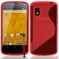 Google Nexus 4 E960/ Mako: Coque silicone Gel motif S au dos + mini Stylet - ROUGE