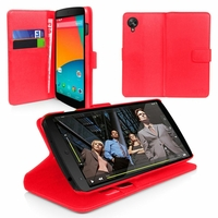 Google Nexus 5: Etui portefeuille Support Video cuir PU - ROUGE