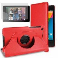 Google Nexus 7 (2012), non compatible Nexus 7- 2013: Etui Cuir PU Support Rotatif 360° - ROUGE