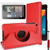 Google Nexus 7 (2012), non compatible Nexus 7- 2013: Etui Cuir PU Support Rotatif 360° + mini Stylet - ROUGE