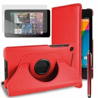 Google Nexus 7 (2012), non compatible Nexus 7- 2013: Etui Cuir PU Support Rotatif 360° + Stylet - ROUGE