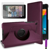 Google Nexus 7 (2012), non compatible Nexus 7- 2013: Etui Cuir PU Support Rotatif 360° + mini Stylet - VIOLET