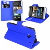 HTC One Mini M4/ 601/ 601e/ 601n/ 601s: Etui portefeuille Support Video cuir PU - BLEU
