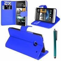HTC One Mini M4/ 601/ 601e/ 601n/ 601s: Etui portefeuille Support Video cuir PU + Stylet - BLEU