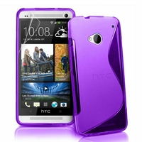 HTC One M7: Coque silicone Gel motif S au dos - VIOLET