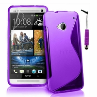 HTC One M7: Coque silicone Gel motif S au dos + mini Stylet - VIOLET