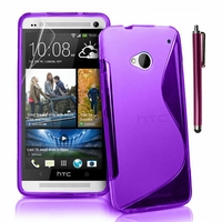 HTC One M7: Coque silicone Gel motif S au dos + Stylet - VIOLET