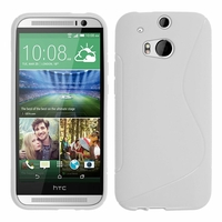 HTC One (M8)/ One M8s/ Dual Sim/ (M8) Eye/ M8 For Windows/ HTC Butterfly 2: Coque silicone Gel motif S au dos - BLANC