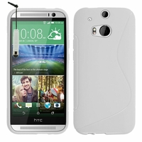 HTC One (M8)/ One M8s/ Dual Sim/ (M8) Eye/ M8 For Windows/ HTC Butterfly 2: Coque silicone Gel motif S au dos + mini Stylet - BLANC
