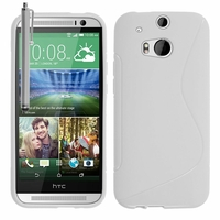 HTC One (M8)/ One M8s/ Dual Sim/ (M8) Eye/ M8 For Windows/ HTC Butterfly 2: Coque silicone Gel motif S au dos + Stylet - BLANC
