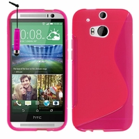 HTC One (M8)/ One M8s/ Dual Sim/ (M8) Eye/ M8 For Windows/ HTC Butterfly 2: Coque silicone Gel motif S au dos + mini Stylet - ROSE