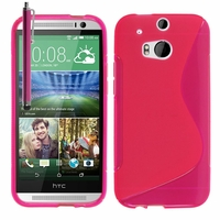 HTC One (M8)/ One M8s/ Dual Sim/ (M8) Eye/ M8 For Windows/ HTC Butterfly 2: Coque silicone Gel motif S au dos + Stylet - ROSE