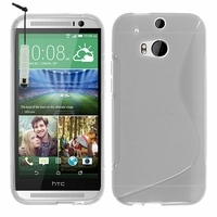 HTC One (M8)/ One M8s/ Dual Sim/ (M8) Eye/ M8 For Windows/ HTC Butterfly 2: Coque silicone Gel motif S au dos + mini Stylet - TRANSPARENT