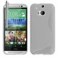 HTC One (M8)/ One M8s/ Dual Sim/ (M8) Eye/ M8 For Windows/ HTC Butterfly 2: Coque silicone Gel motif S au dos + Stylet - TRANSPARENT