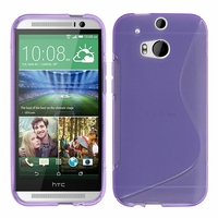 HTC One (M8)/ One M8s/ Dual Sim/ (M8) Eye/ M8 For Windows/ HTC Butterfly 2: Coque silicone Gel motif S au dos - VIOLET
