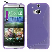 HTC One (M8)/ One M8s/ Dual Sim/ (M8) Eye/ M8 For Windows/ HTC Butterfly 2: Coque silicone Gel motif S au dos + mini Stylet - VIOLET