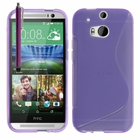 HTC One (M8)/ One M8s/ Dual Sim/ (M8) Eye/ M8 For Windows/ HTC Butterfly 2: Coque silicone Gel motif S au dos + Stylet - VIOLET