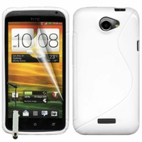 HTC One X/ X+/ XL/ XT: Coque silicone Gel motif S au dos + mini Stylet - BLANC