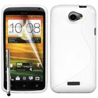 HTC One X/ X+/ XL/ XT: Coque silicone Gel motif S au dos + Stylet - BLANC