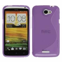 HTC One X/ X+/ XL/ XT: Coque silicone Gel motif S au dos - VIOLET