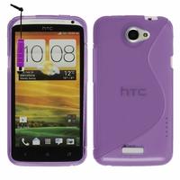 HTC One X/ X+/ XL/ XT: Coque silicone Gel motif S au dos + mini Stylet - VIOLET