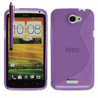 HTC One X/ X+/ XL/ XT: Coque silicone Gel motif S au dos + Stylet - VIOLET