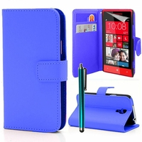 HTC Windows Phone 8S: Etui portefeuille Support Video cuir PU + Stylet - BLEU FONCE