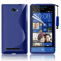 HTC Windows Phone 8S: Coque silicone Gel motif S au dos + mini Stylet - BLEU