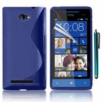 HTC Windows Phone 8S: Coque silicone Gel motif S au dos + Stylet - BLEU